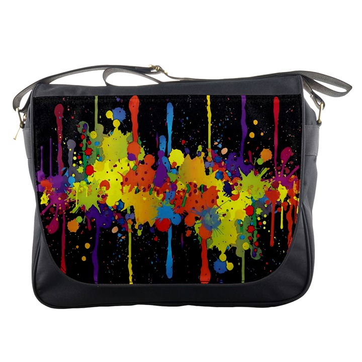 Crazy Multicolored Double Running Splashes Horizon Messenger Bags