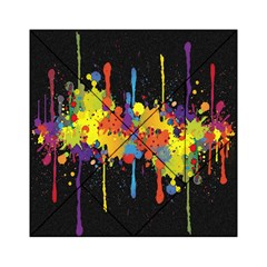 Crazy Multicolored Double Running Splashes Horizon Acrylic Tangram Puzzle (6  x 6 )