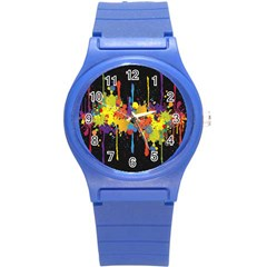 Crazy Multicolored Double Running Splashes Horizon Round Plastic Sport Watch (S)