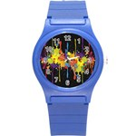 Crazy Multicolored Double Running Splashes Horizon Round Plastic Sport Watch (S) Front