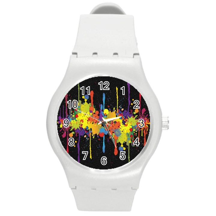 Crazy Multicolored Double Running Splashes Horizon Round Plastic Sport Watch (M)
