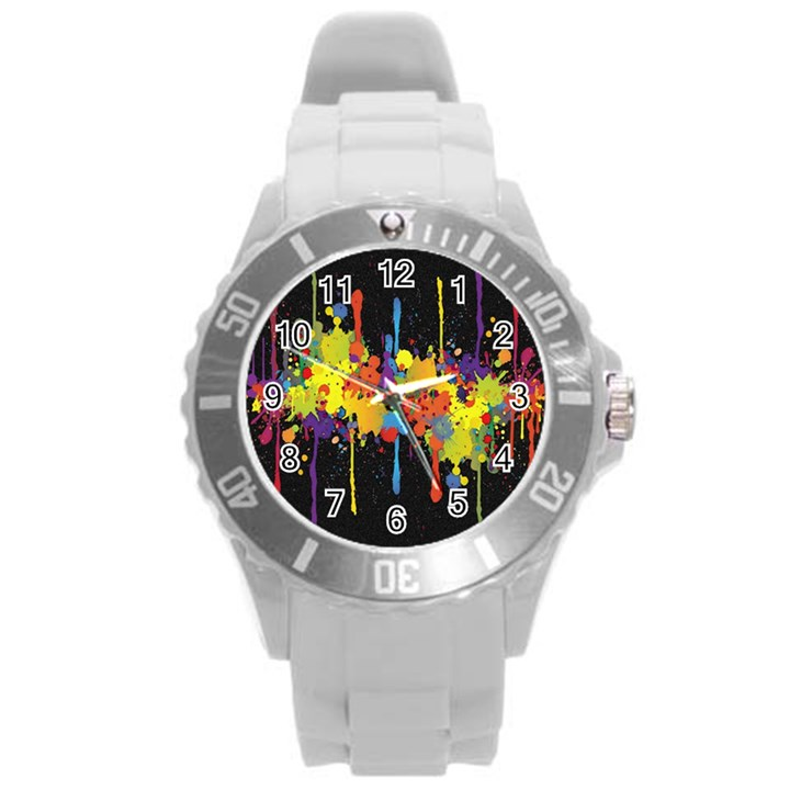Crazy Multicolored Double Running Splashes Horizon Round Plastic Sport Watch (L)