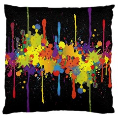Crazy Multicolored Double Running Splashes Horizon Large Cushion Case (one Side)