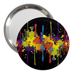 Crazy Multicolored Double Running Splashes Horizon 3  Handbag Mirrors