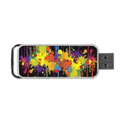 Crazy Multicolored Double Running Splashes Horizon Portable Usb Flash (two Sides)