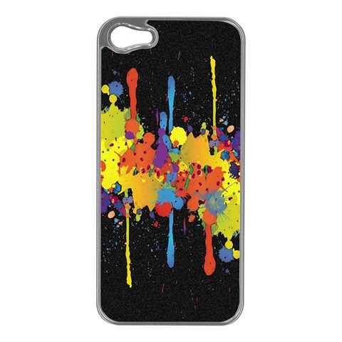 Crazy Multicolored Double Running Splashes Horizon Apple iPhone 5 Case (Silver)