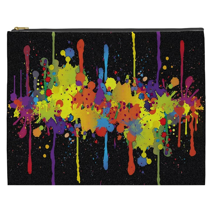 Crazy Multicolored Double Running Splashes Horizon Cosmetic Bag (XXXL)