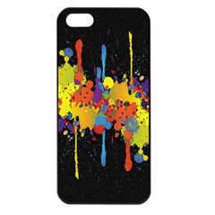 Crazy Multicolored Double Running Splashes Horizon Apple Iphone 5 Seamless Case (black)