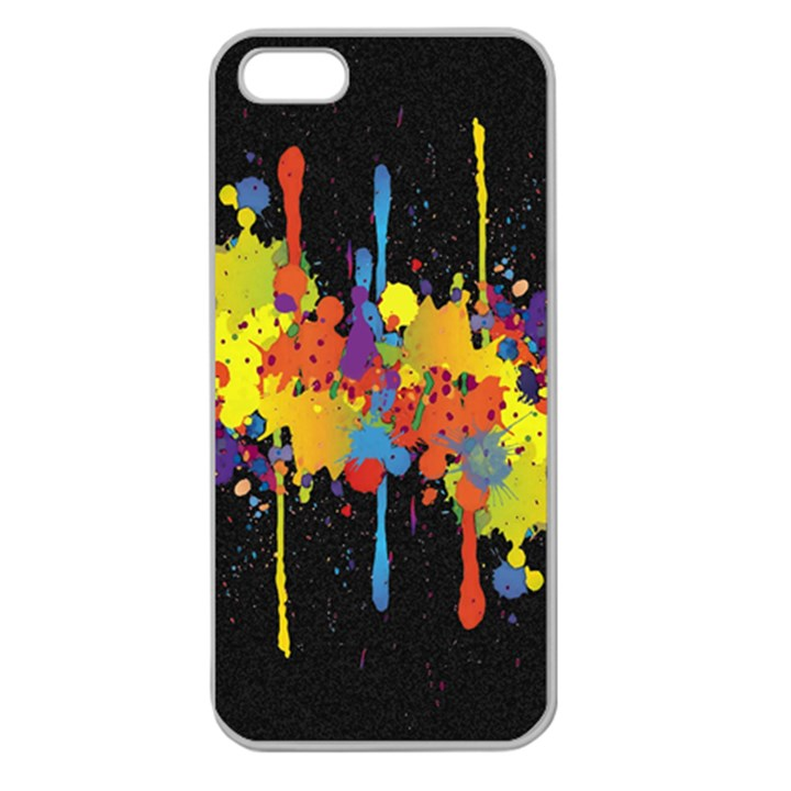 Crazy Multicolored Double Running Splashes Horizon Apple Seamless iPhone 5 Case (Clear)