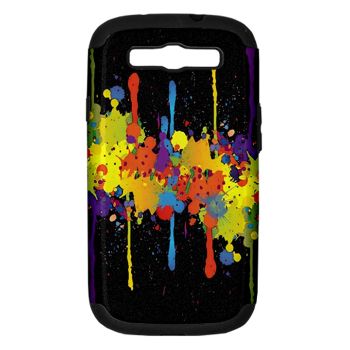 Crazy Multicolored Double Running Splashes Horizon Samsung Galaxy S III Hardshell Case (PC+Silicone)