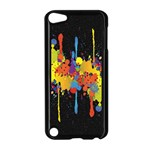 Crazy Multicolored Double Running Splashes Horizon Apple iPod Touch 5 Case (Black) Front