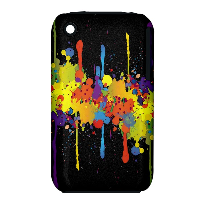 Crazy Multicolored Double Running Splashes Horizon Apple iPhone 3G/3GS Hardshell Case (PC+Silicone)