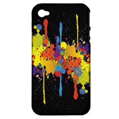 Crazy Multicolored Double Running Splashes Horizon Apple Iphone 4/4s Hardshell Case (pc+silicone)