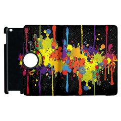 Crazy Multicolored Double Running Splashes Horizon Apple iPad 2 Flip 360 Case