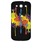 Crazy Multicolored Double Running Splashes Horizon Samsung Galaxy S3 S III Classic Hardshell Back Case Front