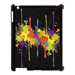 Crazy Multicolored Double Running Splashes Horizon Apple iPad 3/4 Case (Black)