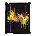 Crazy Multicolored Double Running Splashes Horizon Apple iPad 3/4 Case (Black) Front
