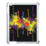 Crazy Multicolored Double Running Splashes Horizon Apple iPad 3/4 Case (White) Front