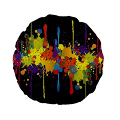 Crazy Multicolored Double Running Splashes Horizon Standard 15  Premium Round Cushions