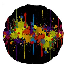 Crazy Multicolored Double Running Splashes Horizon Large 18  Premium Round Cushions