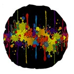Crazy Multicolored Double Running Splashes Horizon Large 18  Premium Round Cushions Front