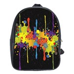 Crazy Multicolored Double Running Splashes Horizon School Bags (XL)  Front