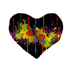 Crazy Multicolored Double Running Splashes Horizon Standard 16  Premium Heart Shape Cushions