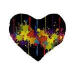 Crazy Multicolored Double Running Splashes Horizon Standard 16  Premium Heart Shape Cushions Front