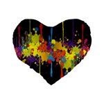 Crazy Multicolored Double Running Splashes Horizon Standard 16  Premium Heart Shape Cushions Back