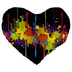 Crazy Multicolored Double Running Splashes Horizon Large 19  Premium Heart Shape Cushions Front