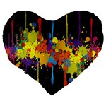 Crazy Multicolored Double Running Splashes Horizon Large 19  Premium Heart Shape Cushions Back
