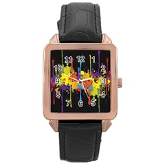 Crazy Multicolored Double Running Splashes Horizon Rose Gold Leather Watch