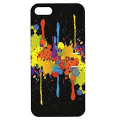 Crazy Multicolored Double Running Splashes Horizon Apple Iphone 5 Hardshell Case With Stand