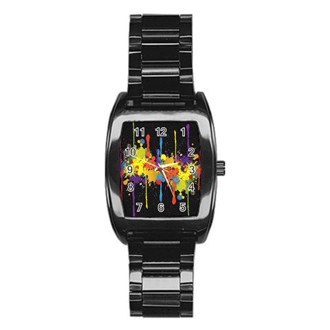 Crazy Multicolored Double Running Splashes Horizon Stainless Steel Barrel Watch
