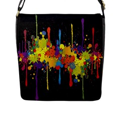 Crazy Multicolored Double Running Splashes Horizon Flap Messenger Bag (l)