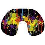 Crazy Multicolored Double Running Splashes Horizon Travel Neck Pillows Back