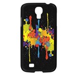 Crazy Multicolored Double Running Splashes Horizon Samsung Galaxy S4 I9500/ I9505 Case (Black) Front