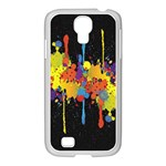 Crazy Multicolored Double Running Splashes Horizon Samsung GALAXY S4 I9500/ I9505 Case (White) Front