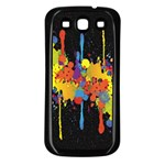 Crazy Multicolored Double Running Splashes Horizon Samsung Galaxy S3 Back Case (Black) Front