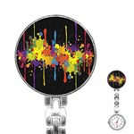 Crazy Multicolored Double Running Splashes Horizon Stainless Steel Nurses Watch Front
