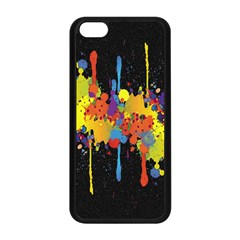 Crazy Multicolored Double Running Splashes Horizon Apple Iphone 5c Seamless Case (black)
