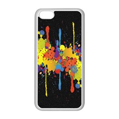 Crazy Multicolored Double Running Splashes Horizon Apple iPhone 5C Seamless Case (White)