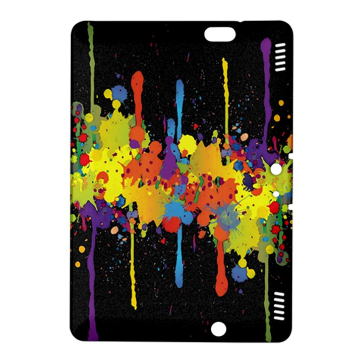 Crazy Multicolored Double Running Splashes Horizon Kindle Fire HDX 8.9  Hardshell Case