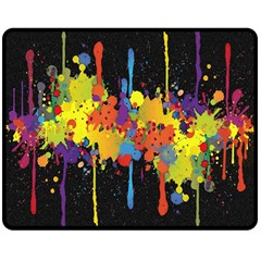 Crazy Multicolored Double Running Splashes Horizon Double Sided Fleece Blanket (Medium)
