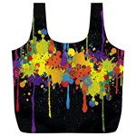 Crazy Multicolored Double Running Splashes Horizon Full Print Recycle Bags (L)  Back