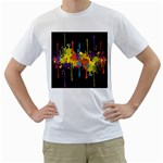 Crazy Multicolored Double Running Splashes Horizon Men s T-Shirt (White)  Front