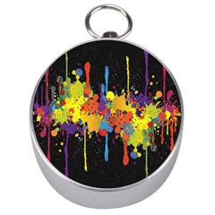 Crazy Multicolored Double Running Splashes Horizon Silver Compasses