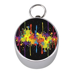Crazy Multicolored Double Running Splashes Horizon Mini Silver Compasses