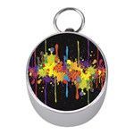 Crazy Multicolored Double Running Splashes Horizon Mini Silver Compasses Front