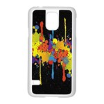 Crazy Multicolored Double Running Splashes Horizon Samsung Galaxy S5 Case (White) Front